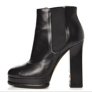 100% Authentic Chanel Ankle Leather Black Boots